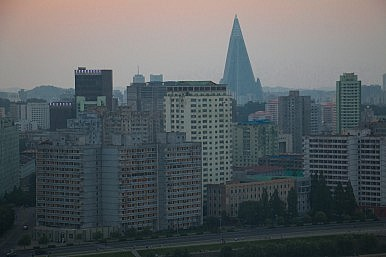 Pyongyang Skyline and modern hotel Ryugyong