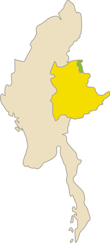 Kokang self-administered zone in green, within Shan State in yellow. Image via Wikimedia Commons/ Certes