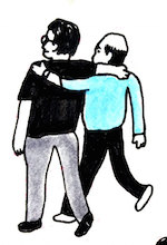 """""""Two men walking arm in arm, just having a great time and enjoying being there with each other. True comraderie!"""""""