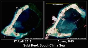 South China Sea: Satellite Images Show Pace of China's Subi Reef Reclamation
