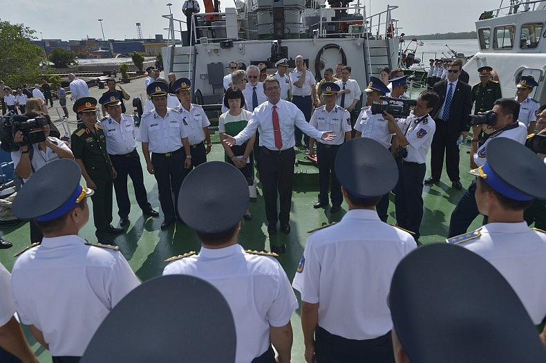 Secretary of Defense Ash Carter tours the Vietnam Coast Guard ship CSB-8003, in Hai Phong, Vietnam, May 31 2015. Carter is on an 11 day trip to the Asia-Pacific to meet with partner nations and affirm U.S. commitment to the region.