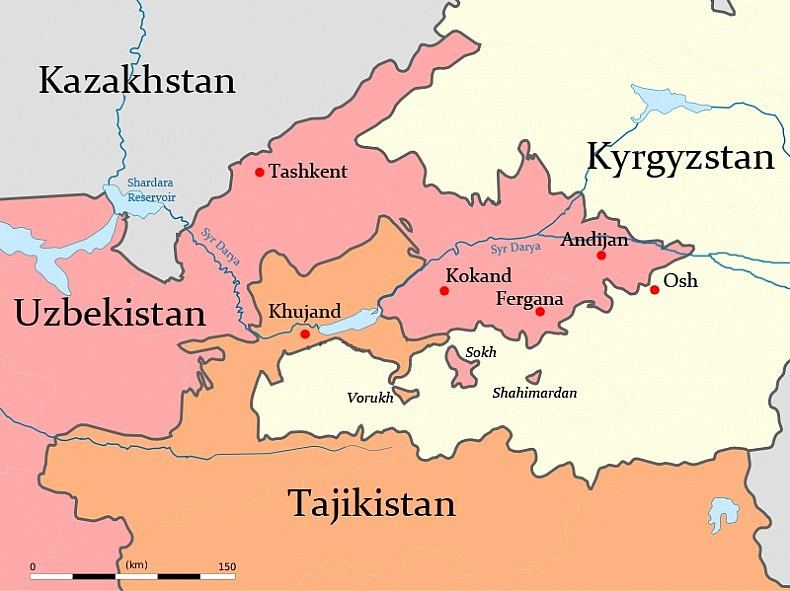 Fergana Map - Uzbek Bordr Issues 7-1