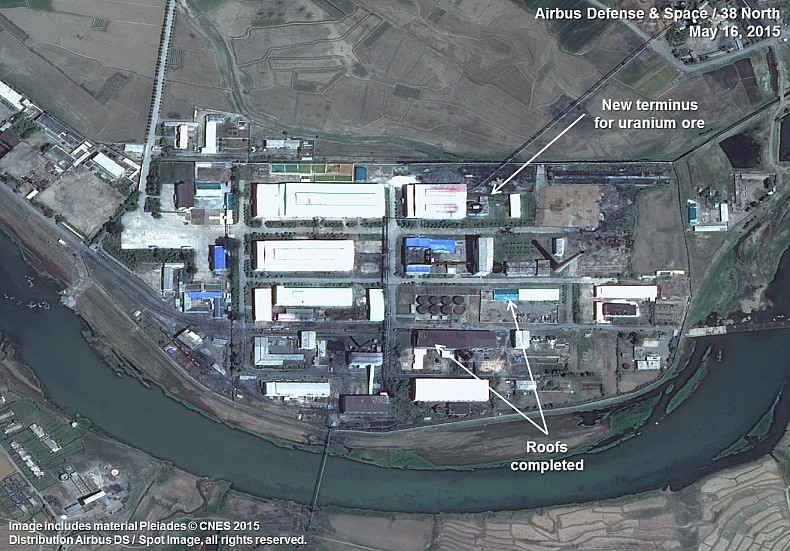 Pyongsan Uranium Concentration Plant 2015. Image includes material Pleiades © CNES 2015. Distribution Airbus DS / Spot Image, all rights reserved.