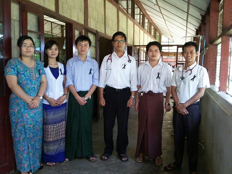 """Medical doctors who currently work at the Hsipaw Hospital in Northern Shan State, Myanmar are pictured. They are wearing black ribbons in solidarity with  the Black Ribbon Movement, also known as """"BRM 2015."""""""