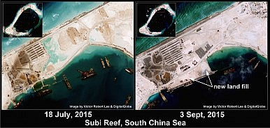 South China Sea: Satellite Imagery Makes Clear China's Runway Work at Subi Reef