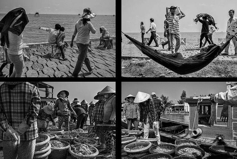 Top: Local Vietnamese tourists enjoy the view of the ocean (L) and a man rests in a hammock after a seafood lunch from one of the many restaurants along the boardwalk (R). Bottom: Workers sort the day's shrimp catch and sort the seafood before sending it to family owned processing facilities. Photos by Gareth Bright.