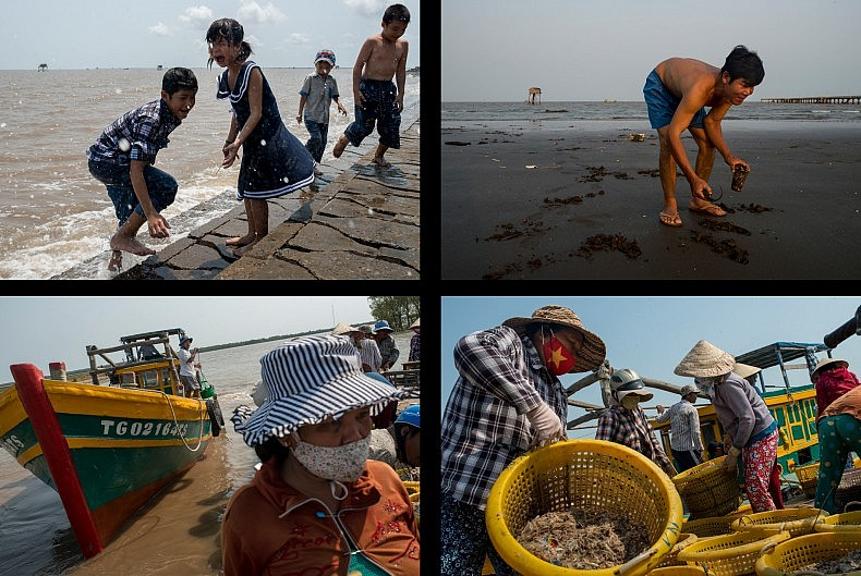 Top: Children splashed by a rogue wave as they hunt for clams along the boardwalk and a man harvests clams from the beach. Bottom: A shrimp boat pulls into harbour in the town of Den Do to offload its catch. Shrimp is a $4 billion industry in Vietnam and is one of the fastest growing sectors of Vietnam's seafood exports. Photos by Luc Forsyth.