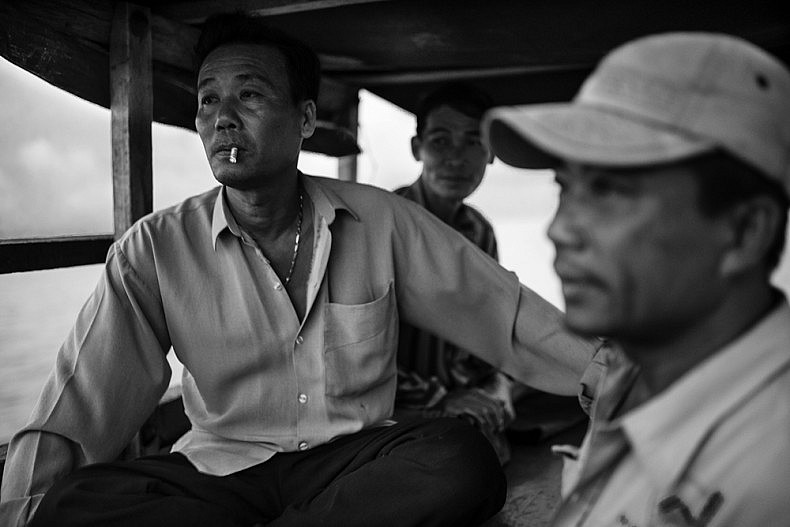 Nguyen Thane (left) and Nguyen Than (right) are brothers and co captains of the family owned boat and have been shrimping off the coast of Vietnam for more than 30 years. Photo by Gareth Bright.