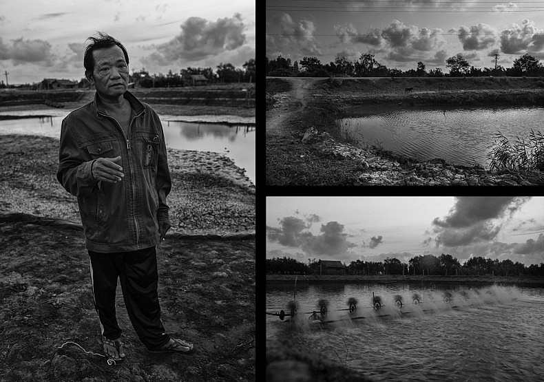 Shrimp farmer Tan Van Vu stands in front one of his  ponds (L). Specially-designed fans oxygenate the ponds in which shrimp are farmed (BR). Photos by Gareth Bright
