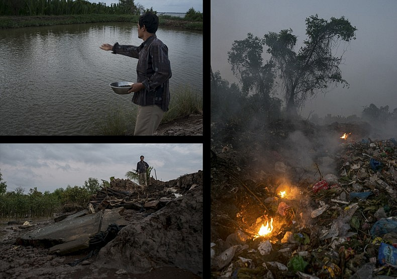 Shrimp farmer Nguyen Van Boi throws food into one of his shrimp ponds (BL), and stands by the eroded banks alongside his shrimp farm (TL).  Local rubbish dump smolders near the shrimp farms on the island of Phu Thanh in Southern Vietnam (R). Photos by Luc Forsyth.