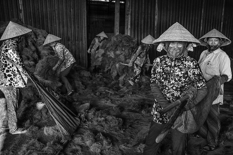 Factory workers gather coconut husk fibers that are carried outside to be dried in the sun. Photo by Gareth Bright.