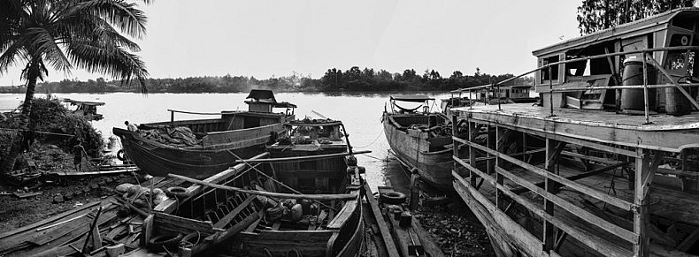 This family-owned shipyard is one of seven major boat repair facilities serving the Mekong transport vessels outside the city of Ben Tre. Photo by Gareth Bright.