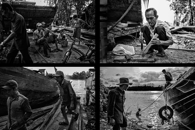 Workers at the shipyard receive the day's instructions (top left) and then set about repairing boats. Photos by Gareth Bright.