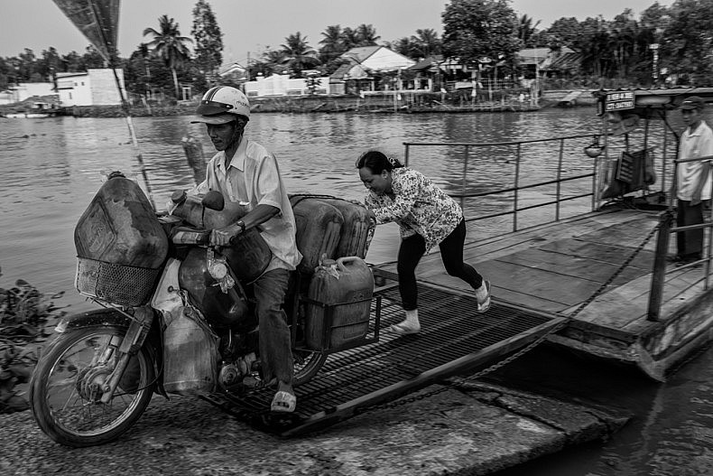 Ferries are used as transport throughout the Mekong Delta. Photo by Gareth Bright.