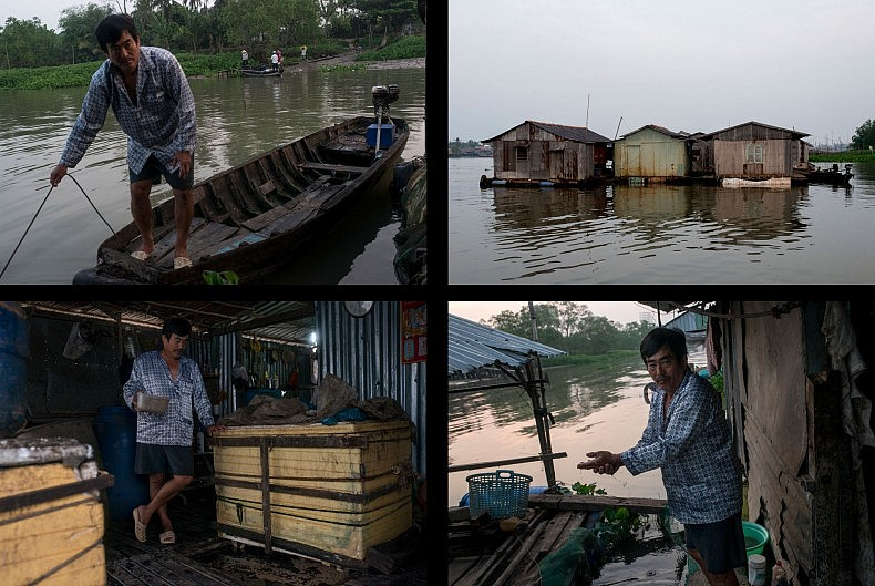 Phuong was a businessman before leaving the corporate world to start a floating fish farm near the city of Can Tho.  Photos by Luc Forsyth.