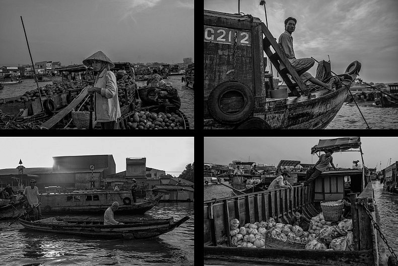 Morning scenes on the Mekong in Can Tho's bustling floating market. Photos by Gareth Bright.