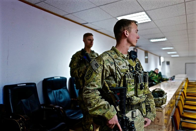 "A ""Guardian Angel""-- U.S. soldiers who act as bodyguards for NATO advisers. Photo by Franz-Stefan Gady."