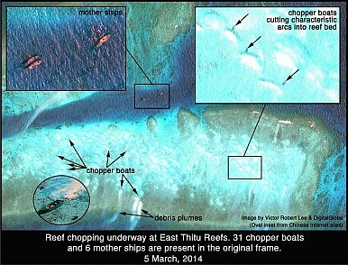 Thitu near east 3 boats with arcs with inset 2.1M. 5 march 2014