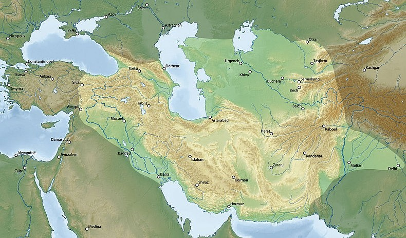 Timur's empire at the time of his death. Source: Wikimedia Commons/Stuntelaar