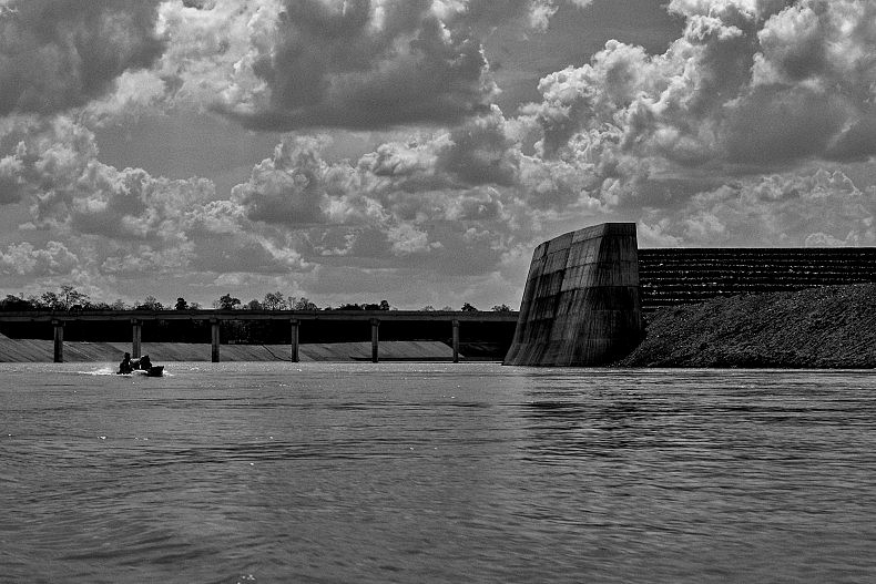 The construction site of the Sesan II dam. The Chinese-financed dam will block two major tributaries of the Mekong, displacing thousands, disrupting fish migrations, and inundating roughly 36 000 hectares of land. Photo by Gareth Bright.