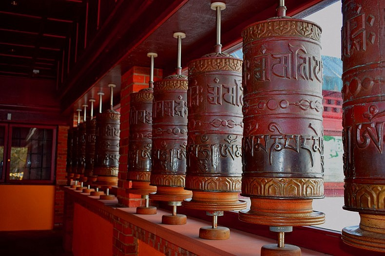 "The ""Mani Korlo"" or Prayer Wheel House has 45 wheels containing millions of prayers. The wheels are run by electric motors and ""transmit prayers day and night."""