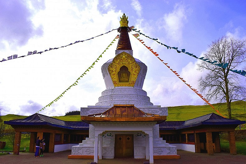 The Samye Ling Stupa was consecrated on August 3, 2000 on Dharmachakra Day to mark the new millennium. It was the first stupa to be built in the United Kingdom and is dedicated to healing the environment and overcoming the obstacles to world peace.