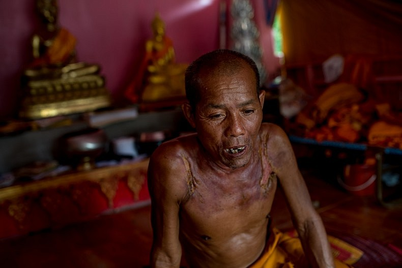 Boun Yaang, 67, is a Buddhist monk in a small pagoda in the village of Ban Thakao. Before he became a monk he was a fisherman and he still lives along the banks of the Mekong near the Khone Falls. Photo by Luc Forsyth.
