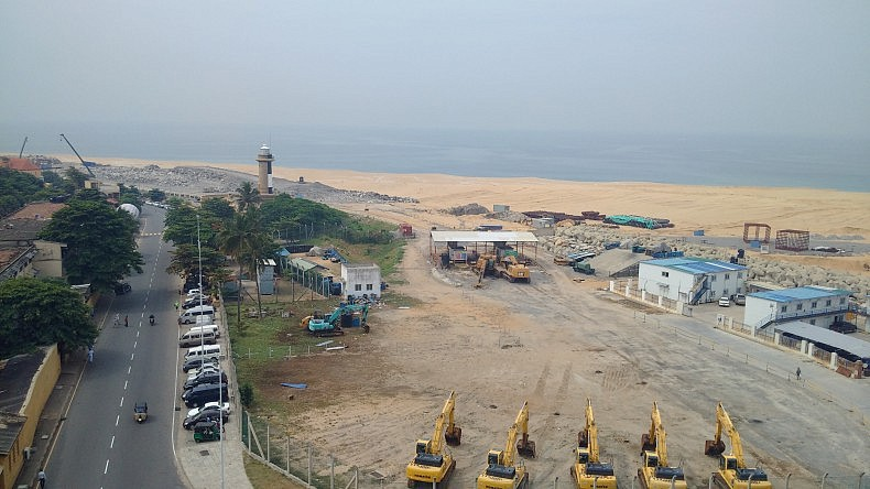 View of land reclamation in Colombo, Sri Lanka.