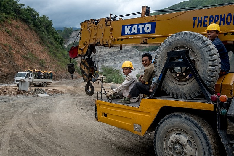 Chinese construction workers on the site of the Nam Kong 2 dam.Photo by Luc Forsyth.