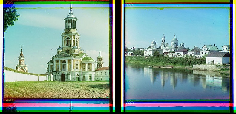 Left: Boris-Gleb Monastery, Torzhok. Right: Cathedral of the Transfgured Saviour and the Church of the Entry into Jerusalem in Torzhok.