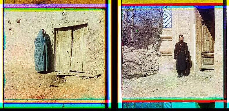Left: Sart woman, Samarkand. Right: Policeman in Samarkand.