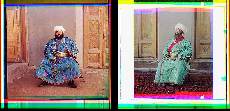 Left: Emir of Bukhara.  Right: Kush-Beggi (Minister of the Interior), Bukhara.