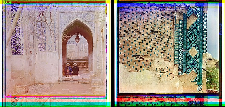 Left: At entrance to the Passage of the Dead. Samarkand. Right: Outside view of the Passage of the Dead, from the left. Samarkand.