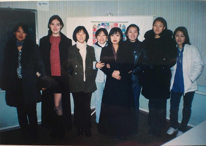 Studying Korean together with my Korean classmates in Tashkent in the early 2000s. Courtesy of Victoria Kim.