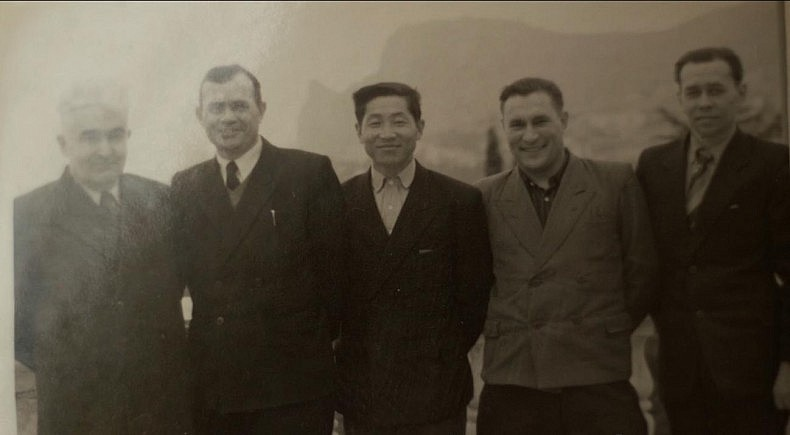 My grandfather (in the center) with his colleagues from the construction bureau. Courtesy of Victoria Kim.