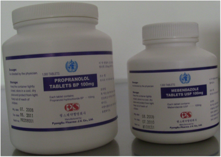 A product of ours for heart conditions and one to treat worms in adults and kids, sold to the WHO which distributed them to needy hospitals in North Korea's hinterland at a fraction of the price it would have cost to produce in Western countries. (Image courtesy of Felix Abt)