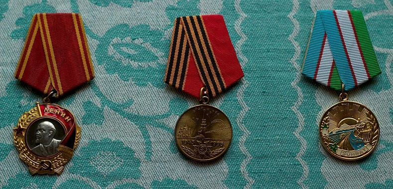Nikolay's parents' medals and state awards. Courtesy of Victoria Kim.