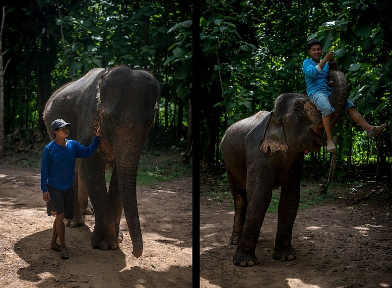 Left: Son Phet, 24, with his elephant Khoun, 47. Right: Boun Phan, 22, with his elephant Kham, also 22. Photos by Luc Forsyth.