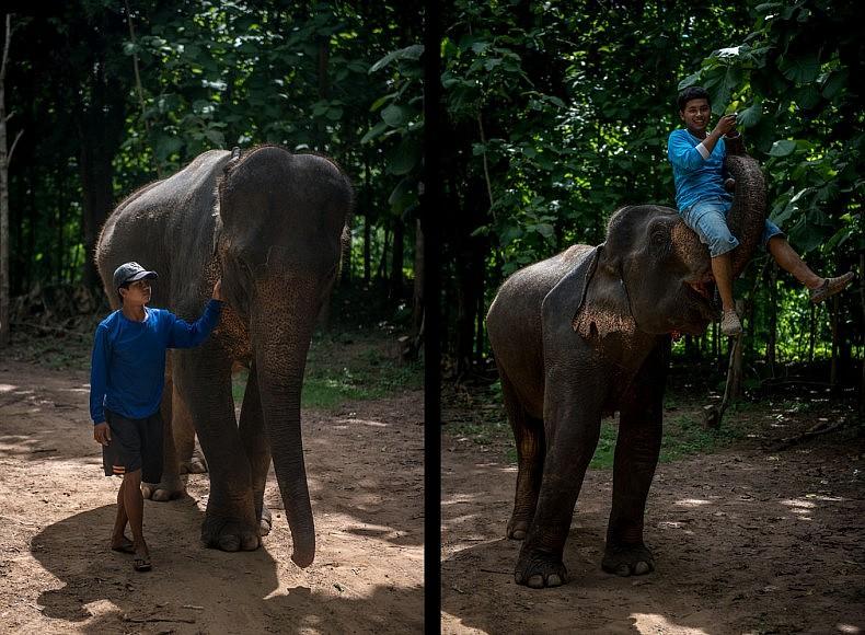 Left: Son Phet, 24, with his elephant Khoun, 47. Right: Boun Phan, 22, with his elephant Kham, also 22. Photos by Luc Forsyth.