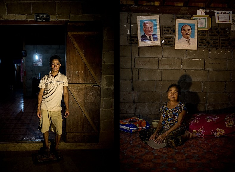 Left: Si Tach Ponmachak, 35, stands in front of his house, lit by a single LED bulb.  Right: Sao Pou, 70, sits under the portraits of two of Laos' most revered former politicians.  Photos by Luc Forsyth.