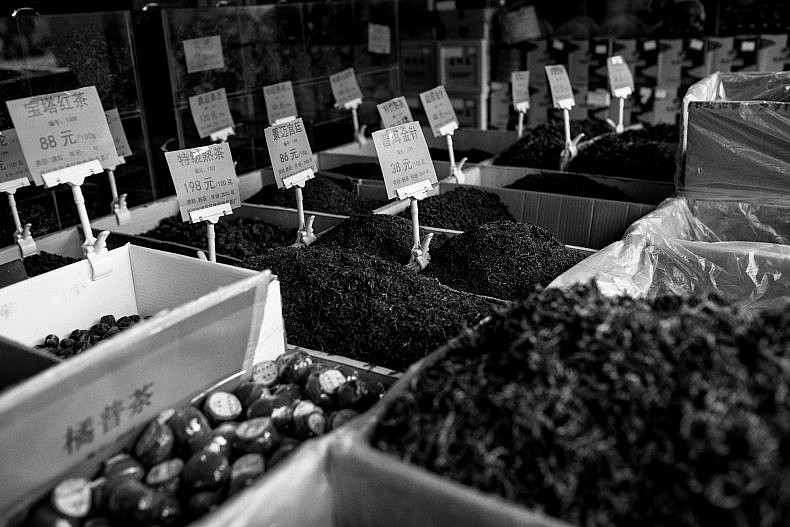 Teas for sale in Pu'er. Photo by Gareth Bright.