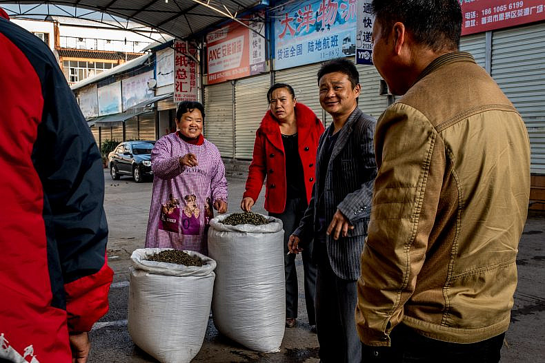 Customers talk with a vendor in the Pu'er tea market. Photo by Luc Forsyth.