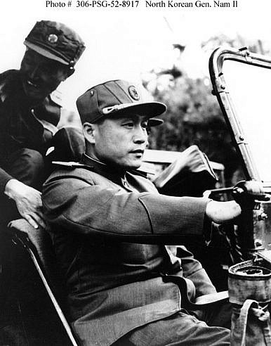 General Nam Il sitting in a Russian-made jeep, waiting to depart from the Korean War Armistice Negotiations site at Kaesong, Korea. (U.S. Information Agency)