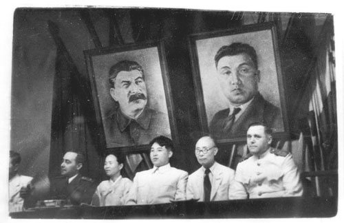 Kim Il-sung and Kim Tu-bong at the joint meeting of the New People's Party and the Workers' Party of Korea in Pyongyang, 1946.