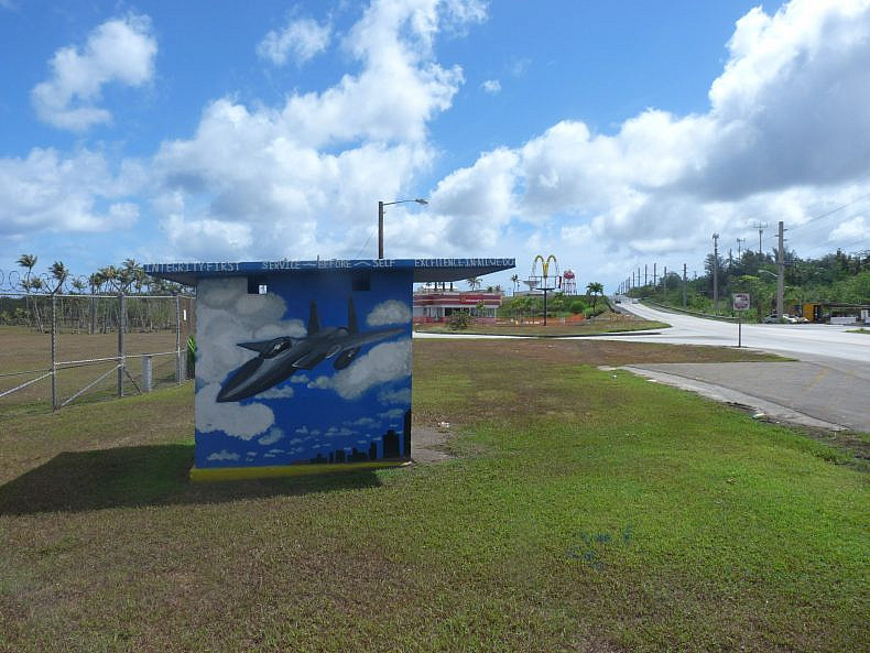 One of many bus stops, painted in a military theme. Photo by Jon Letman.