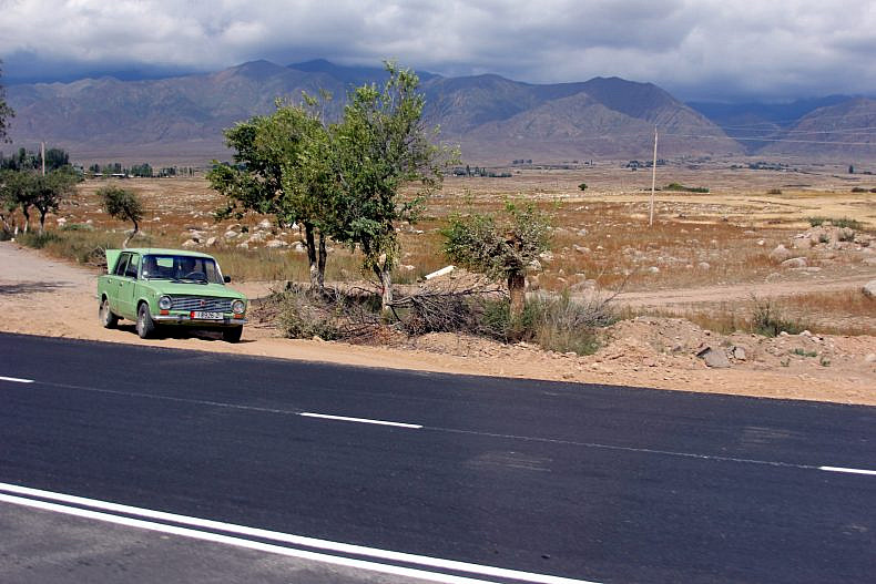 Part of the road past the Issyk Kul airport, freshly painted. Photo by Catherine Putz.