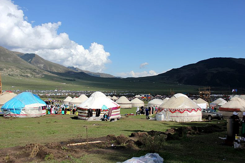 Kyrchyn jailoo--a summer pasture, filled with yurts and people from all of Kyrgyzstan. Photo by Catherine Putz.
