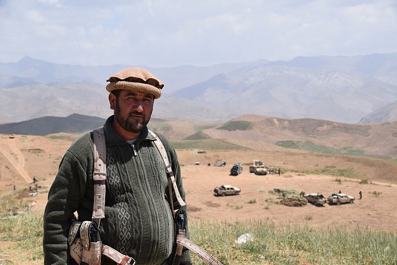 Odam Khan, commander of the Afghan Local Police and former vigilante, on the frontline.