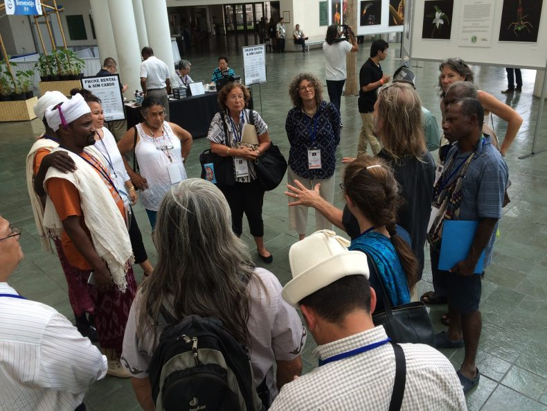 Film maker Christopher McLeod of the Sacred Lands Film Project speaks to a delegation of indigenous people at the World Conservation Congress in Hawaii. Photo by Jon Letman
