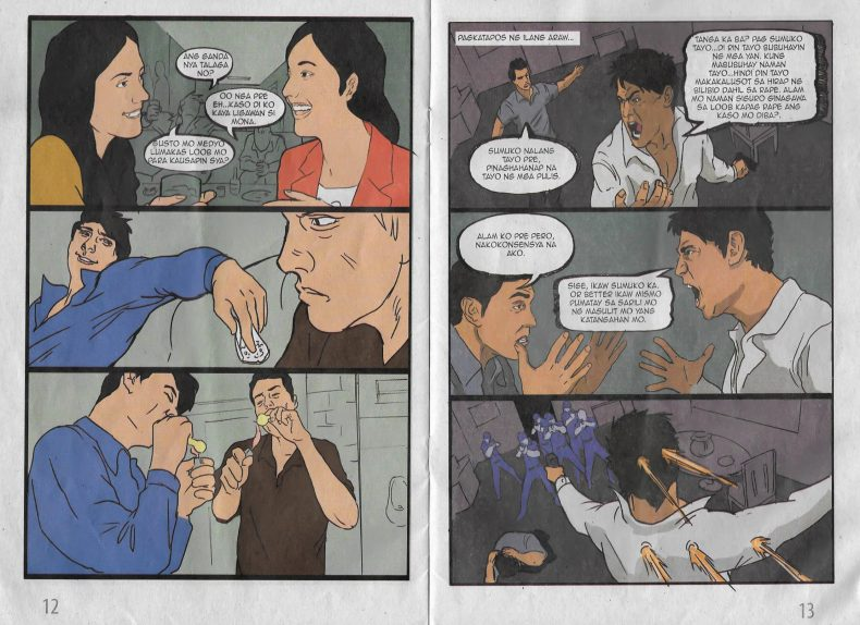Page 12 and 13 of the comic book tell the story of Rick and Mark.